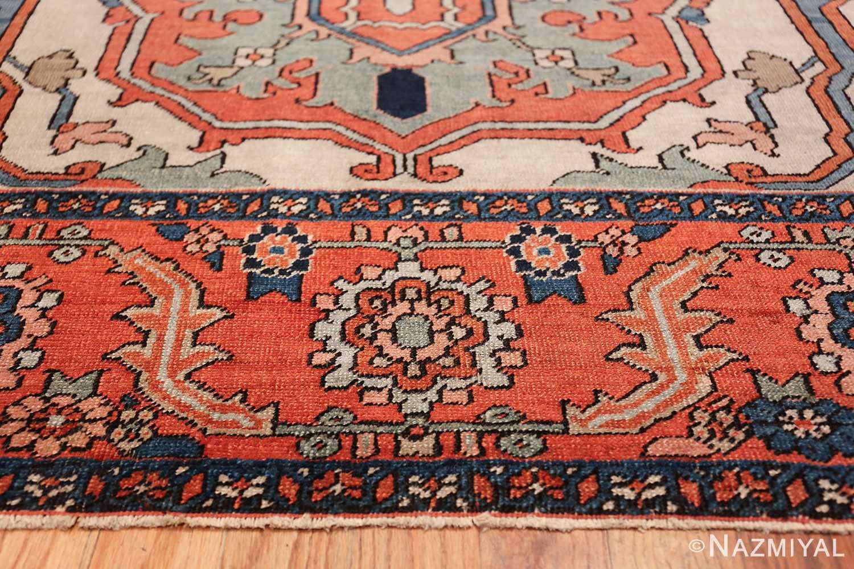 Large Antique Persian Serapi Rug 49742 blue border Nazmiyal