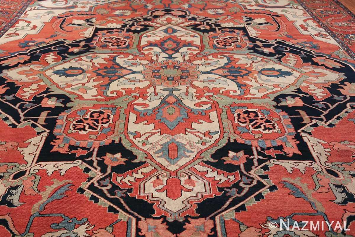 Large Antique Persian Serapi Rug 49742 central medallion Nazmiyal