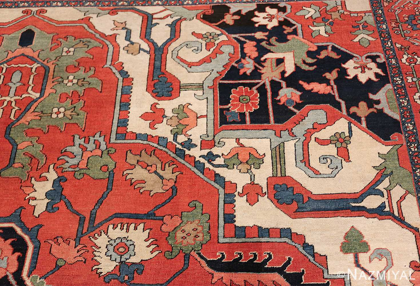 Large Antique Persian Serapi Rug 49742 corner design Nazmiyal