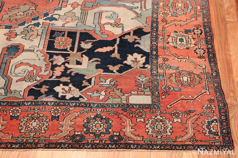 Large Antique Persian Serapi Rug 49742 geometric corner Nazmiyal