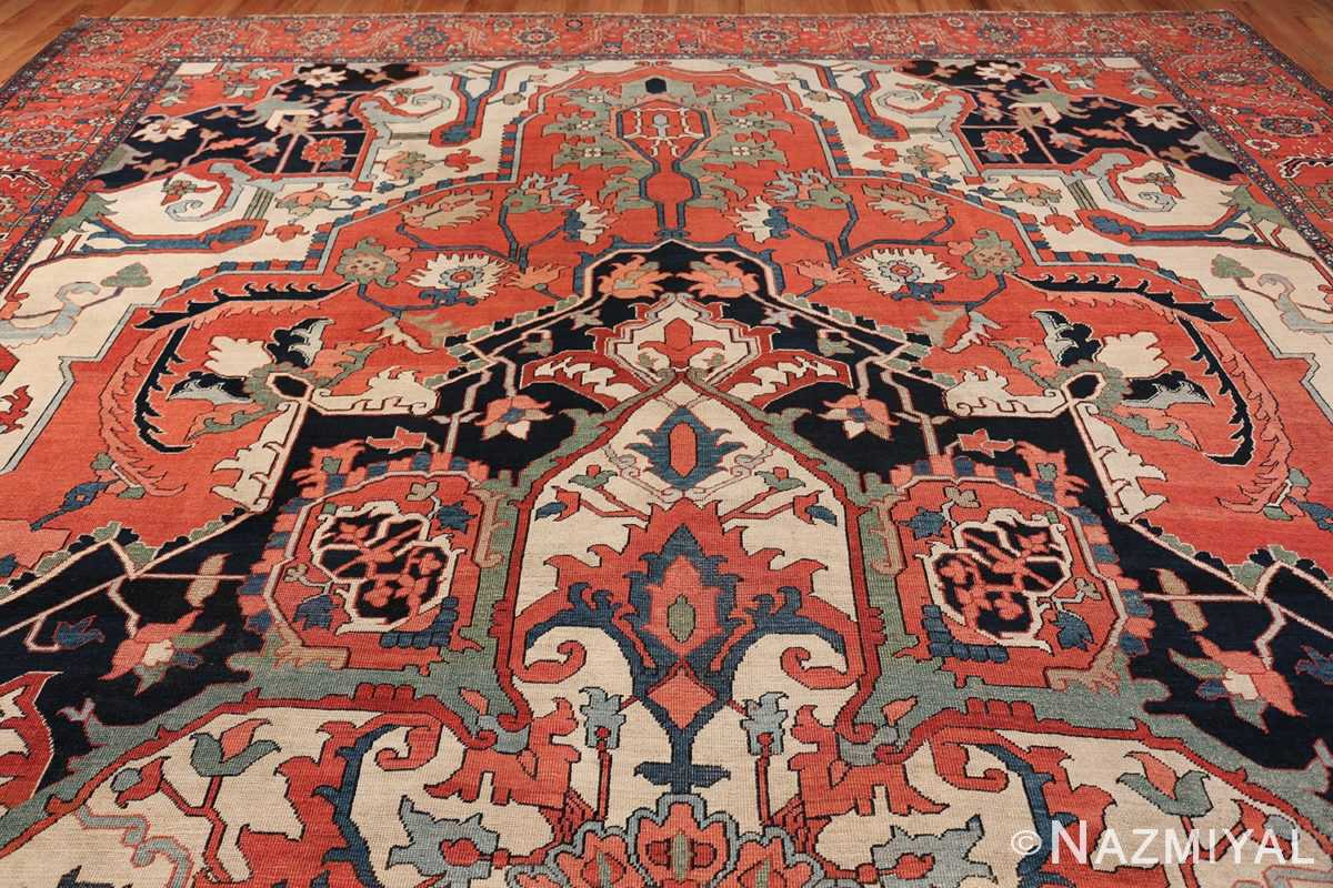 Large Antique Persian Serapi Rug 49742 geometric top Namziyal