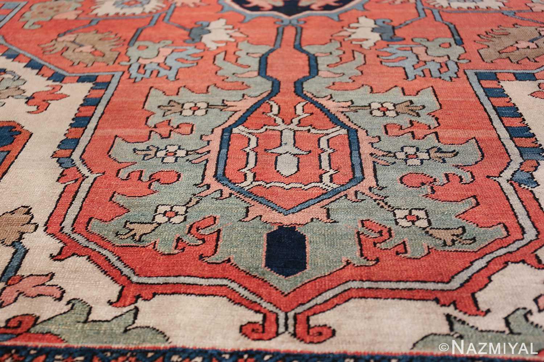 Large Antique Persian Serapi Rug 49742 green pattern Nazmiyal