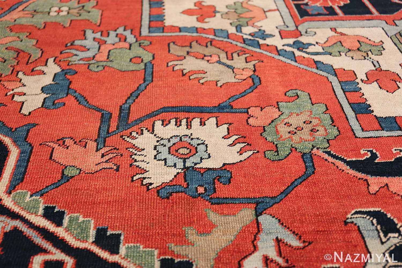 Large Antique Persian Serapi Rug 49742 leaves Nazmiyal