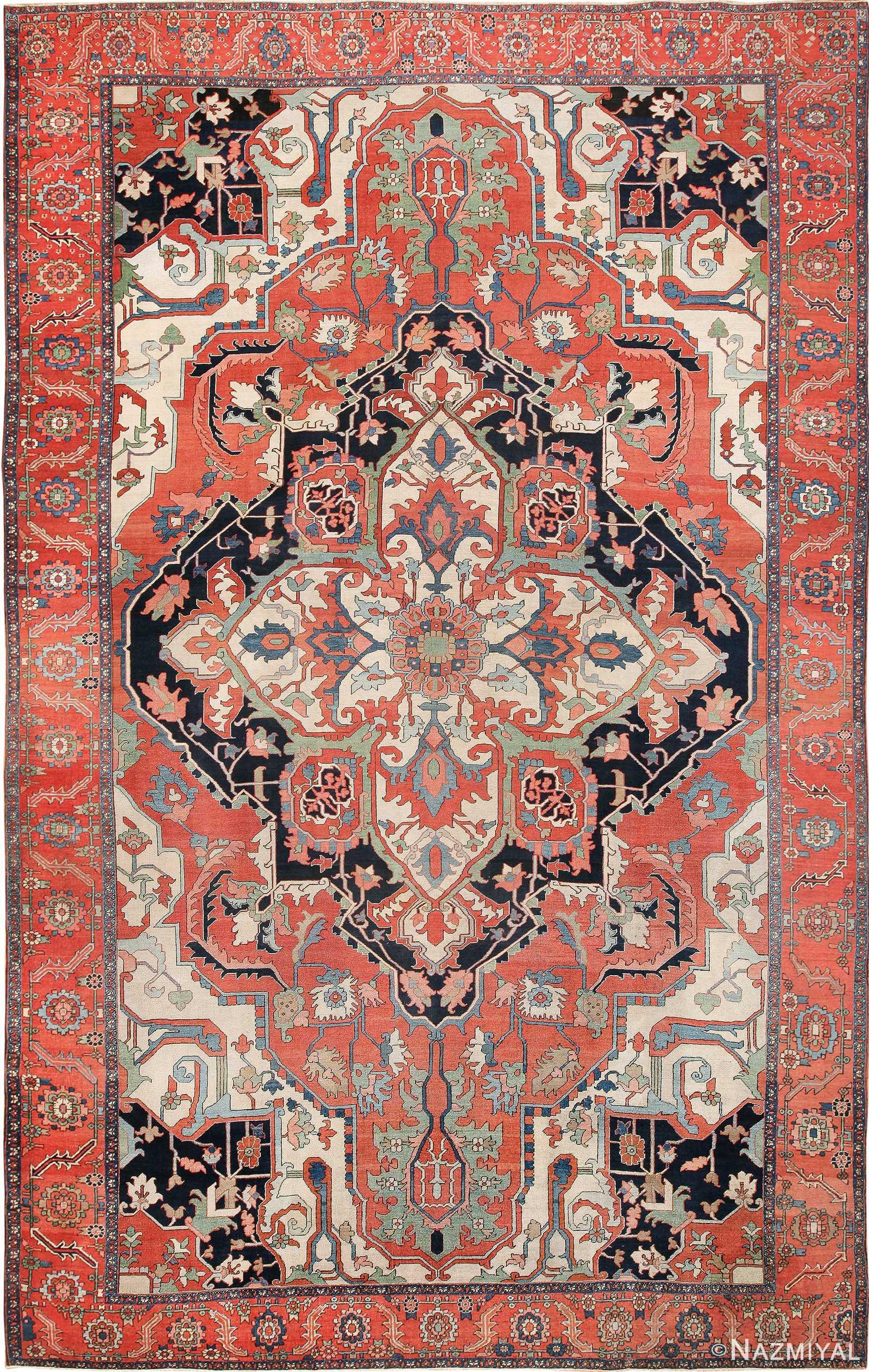 Rust Color Large Antique Persian Serapi Rug 49742 Nazmiyal