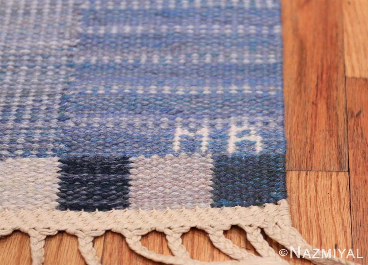 Marta Maas Vintage Scandinavian Swedish Kilim rug by Marianne Richter 49821 MR Signature Initials Nazmiyal