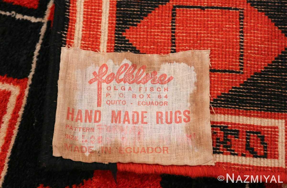 Olga Fisch Formas Vintage Ecuadorian Rug 49814 Label Tag Nazmiyal
