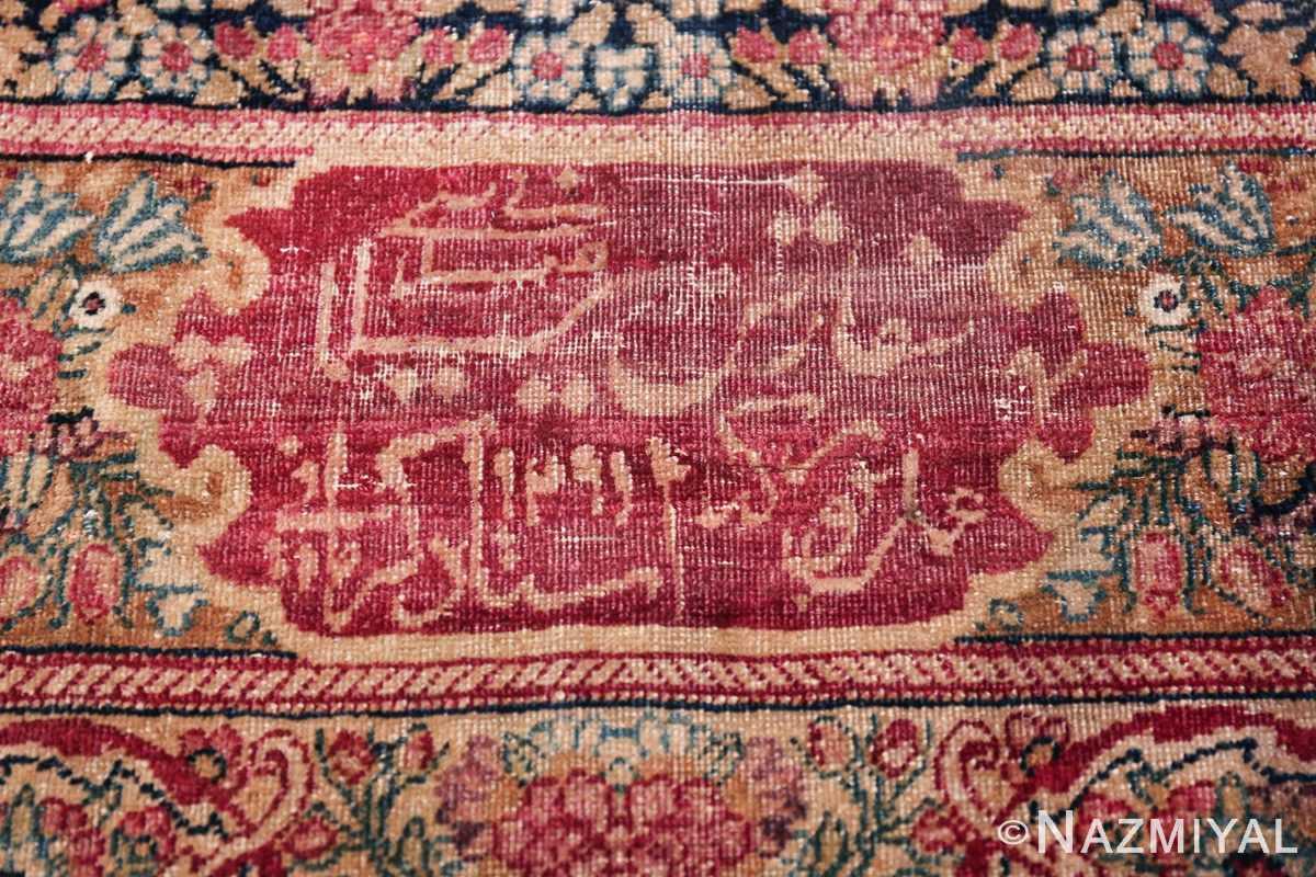 Oversize Antique Persian Lavar Kerman Rug 49681 Signature Date Nazmiyal