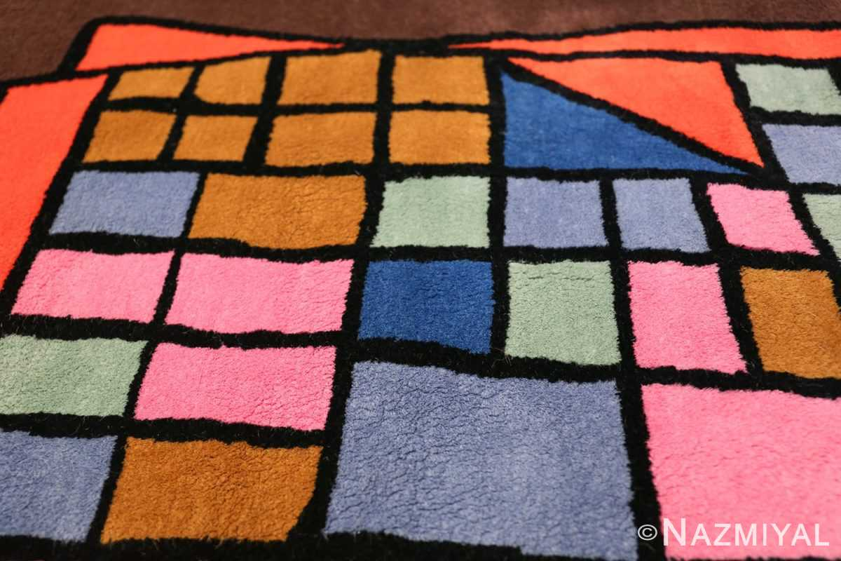 Paul Klee Checkboard Design Vintage French Rug 49813 Fold on Top Nazmiyal
