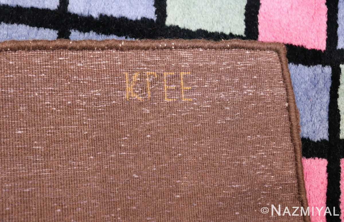 Paul Klee Checkboard Design Vintage French Rug 49813 Knots Back Nazmiyal