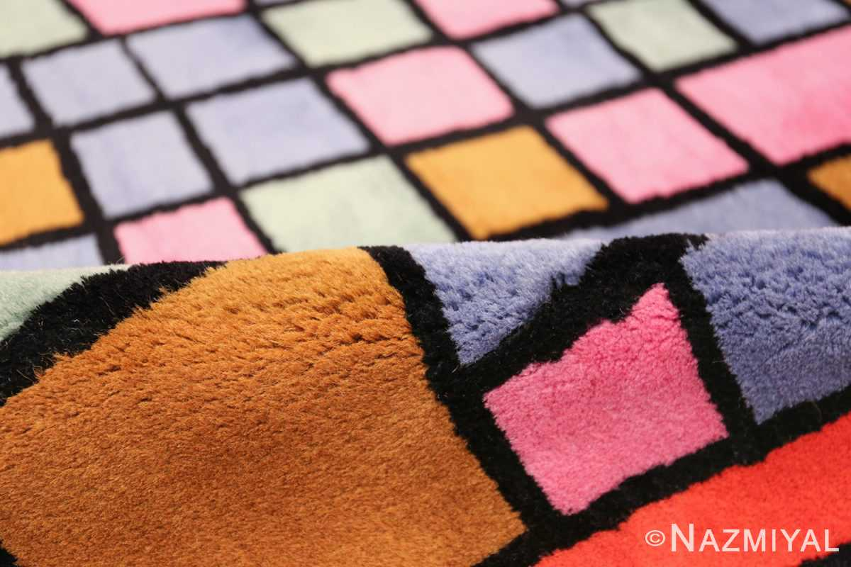 Paul Klee Checkboard Design Vintage French Rug 49813 Square Pile Nazmiyal
