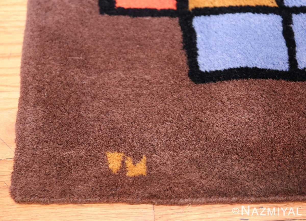 Paul Klee Checkboard Design Vintage French Rug 49813 Woven Initials Nazmiyal