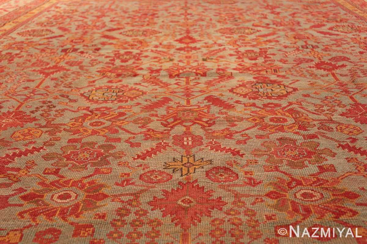 Room Size Antique Turkish Oushak Rug 49539 green field Nazmiyal