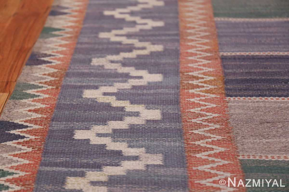 Vintage Marta Mass Scandinavian Swedish Kilim Rug 49823 Border Design Nazmiyal