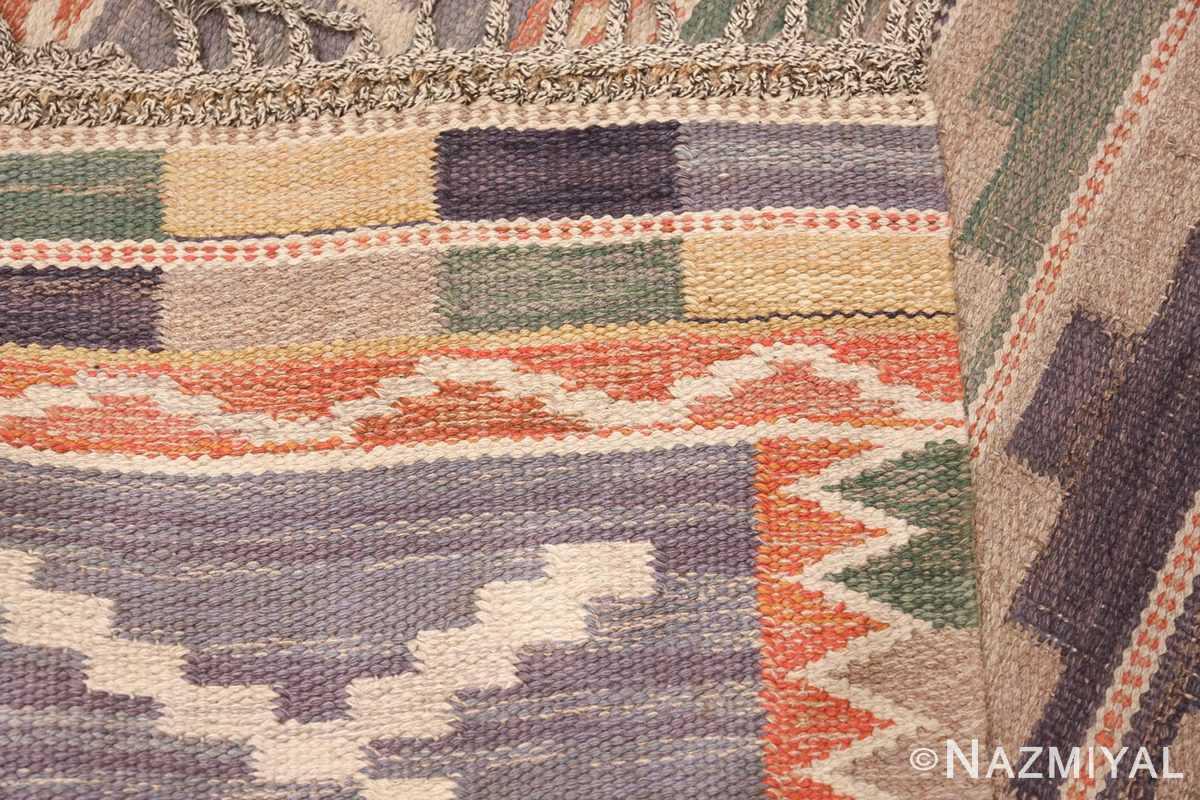 Vintage Marta Mass Scandinavian Swedish Kilim Rug 49823 Knots Woven Flat Nazmiyal