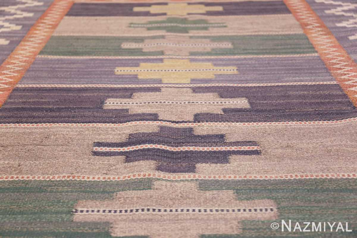 Vintage Marta Mass Scandinavian Swedish Kilim Rug 49823 Rows of Diamonds Nazmiyal