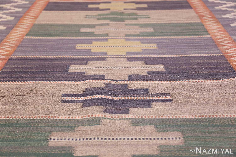 Vintage Marta Mass Scandinavian Swedish Kilim Rug 49823 Rows of Diamonds Nazmiyal