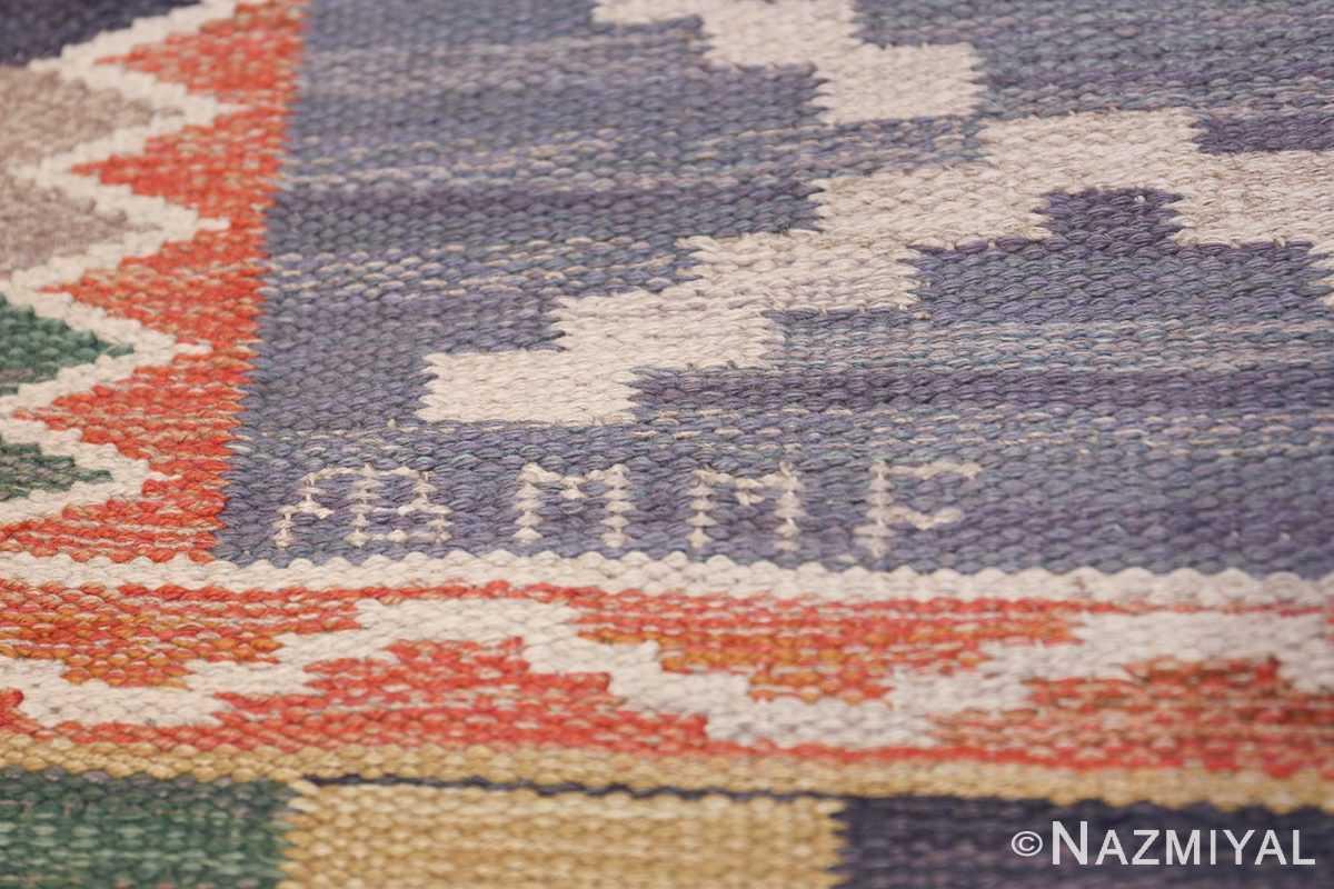 Vintage Marta Mass Scandinavian Swedish Kilim Rug 49823 Signature Initials Nazmiyal