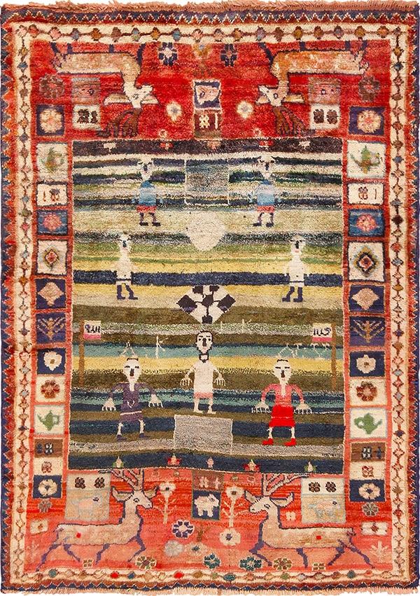 Persian Qashqai Soccer Field Rug - Nazmiyal