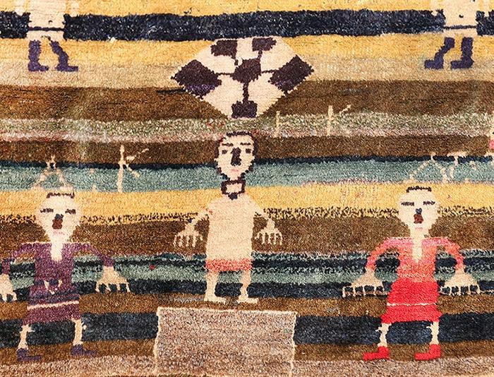 Soccer Field Design Antique Persian Qashqai Rug - Nazmiyal