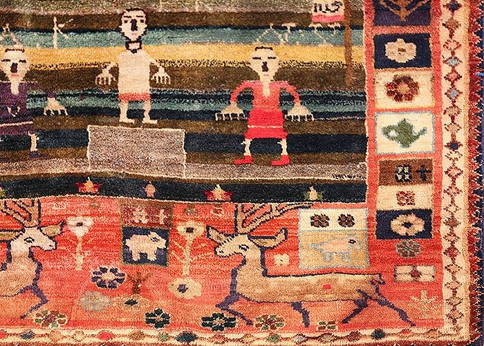 Soccer Field Design Antique Qashqai Persian Rug - nazmiyal