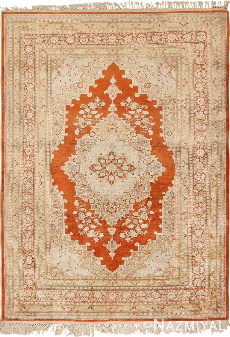 Antique Persian Silk Tabriz Haji Jalili Rug 49830 - Nazmiyal