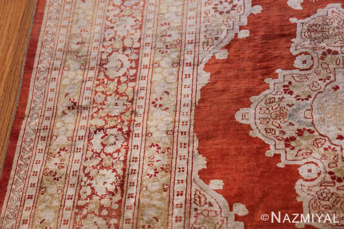Antique Silk Persian Hajijalili Tabriz Rug 49830 Border Design Nazmiyal