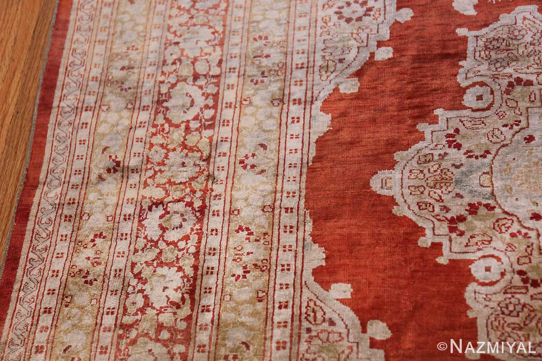 Antique Silk Persian Hajijalili Tabriz Rug 49830 Border Design Nazmiyal