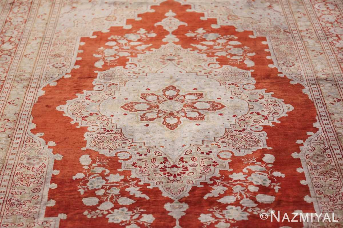Antique Silk Persian Hajijalili Tabriz Rug 49830 Central Medallion Nazmiyal