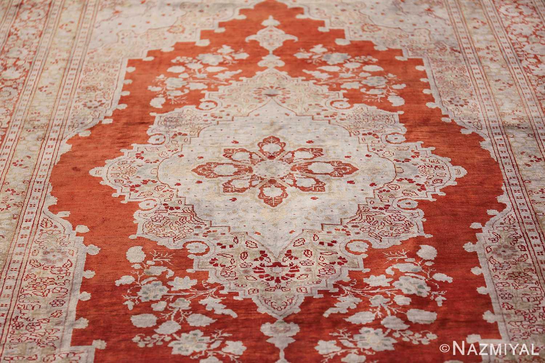 Antique Silk Persian Hajijalili Tabriz Rug 49830 Central Medallion Nazmiyal