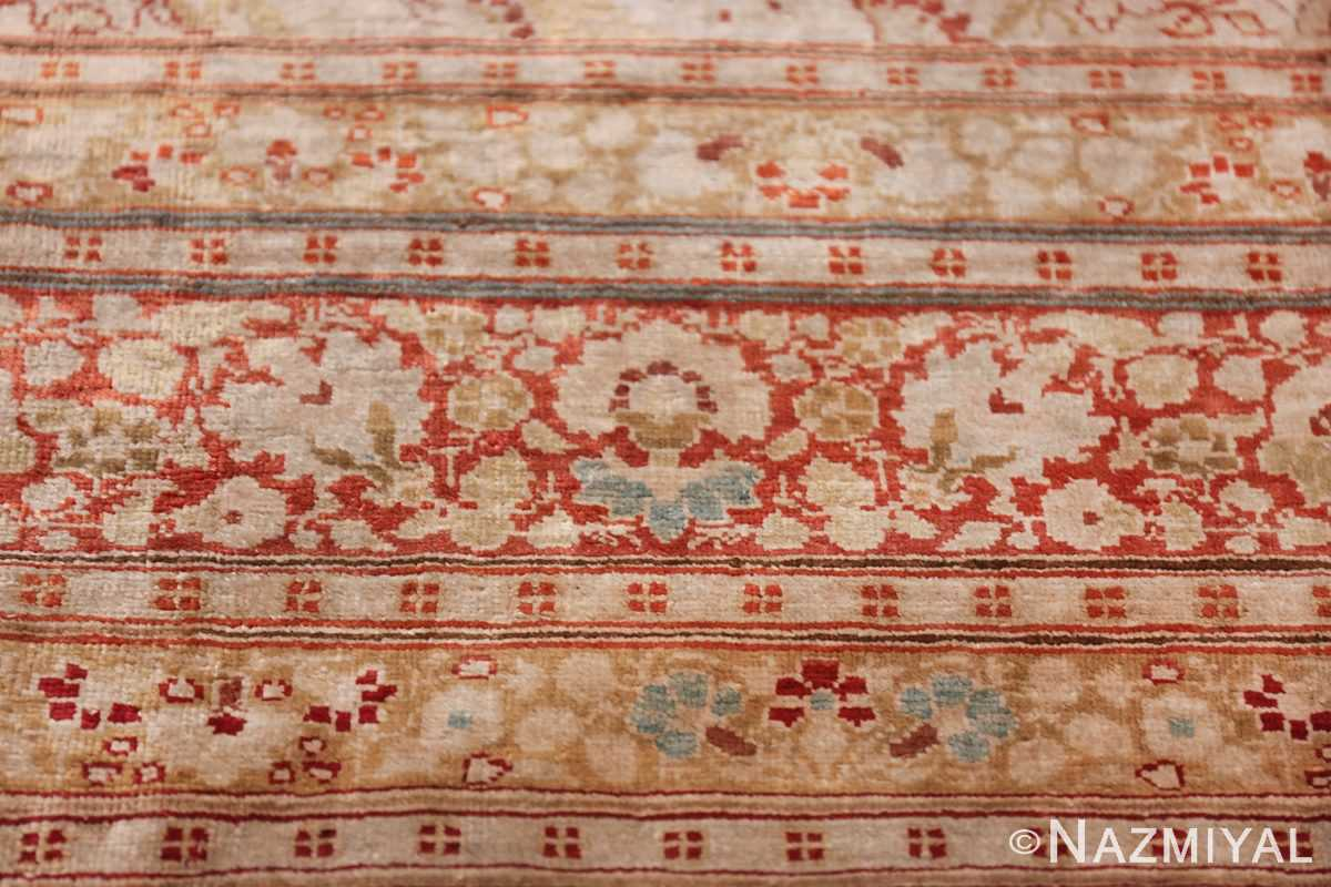 Antique Silk Persian Hajijalili Tabriz Rug 49830 Row of Flower Nazmiyal
