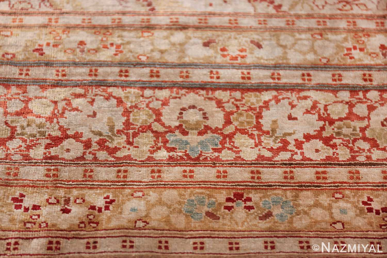 Antique Silk Persian Hajijalili Tabriz Rug 49830 Row of Flower Nazmiyal