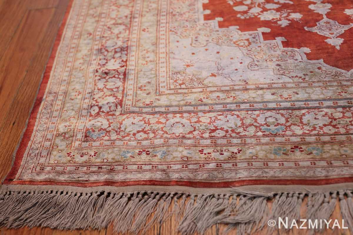 Antique Silk Persian Hajijalili Tabriz Rug 49830 Side Corner Nazmiyal