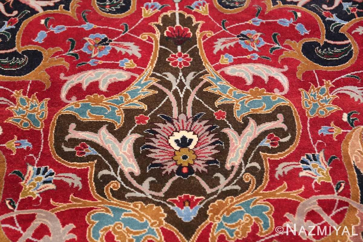 Oversized Vintage Persian Tabriz Rug 49837 Brown Center Nazmiyal