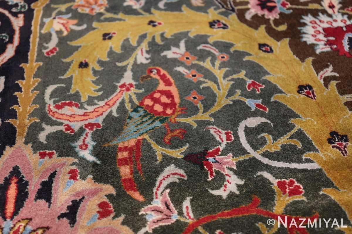 Oversized Vintage Persian Tabriz Rug 49837 Sitting Red Bird Nazmiyal