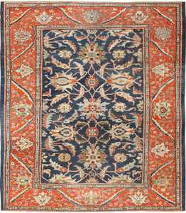 Antique Navy Blue Persian Sultanabad Rug 49759 by Nazmiyal