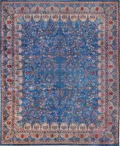 Blue Oversize Floral Antique Indian Rug 49847 Nazmiyal