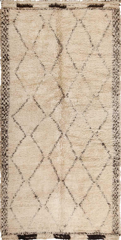 Vintage Ivory Shag Moroccan Beni Ourain Rug 49891 Nazmiyal