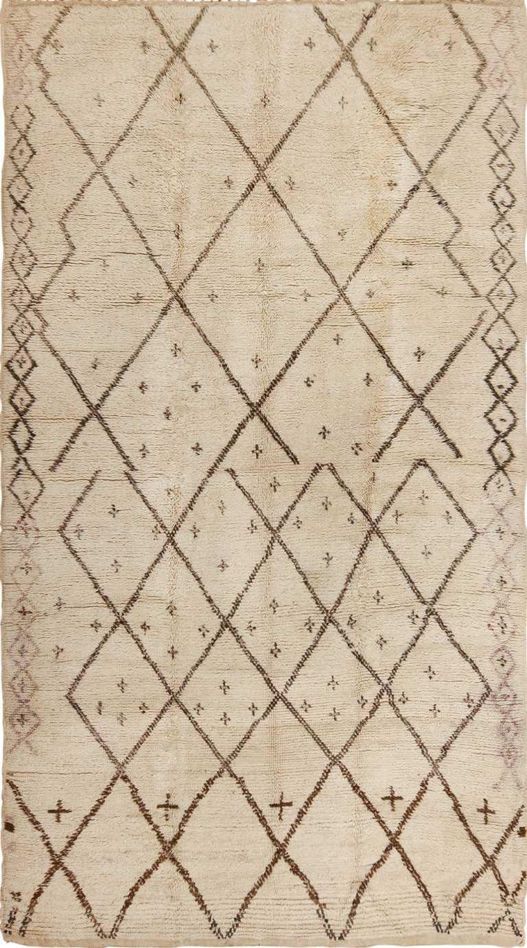 Ivory Brown Vintage Moroccan Beni Ourain Carpet 49867 - Nazmiyal