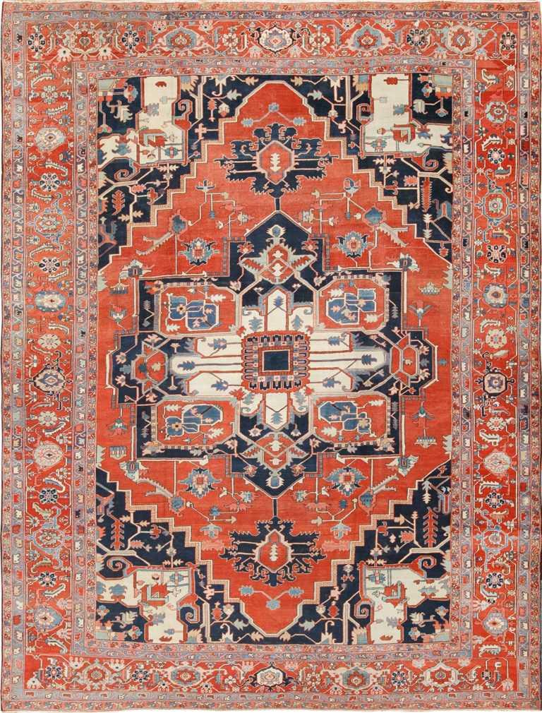 Large Antique Persian Serapi Rug 49595 Nazmiyal