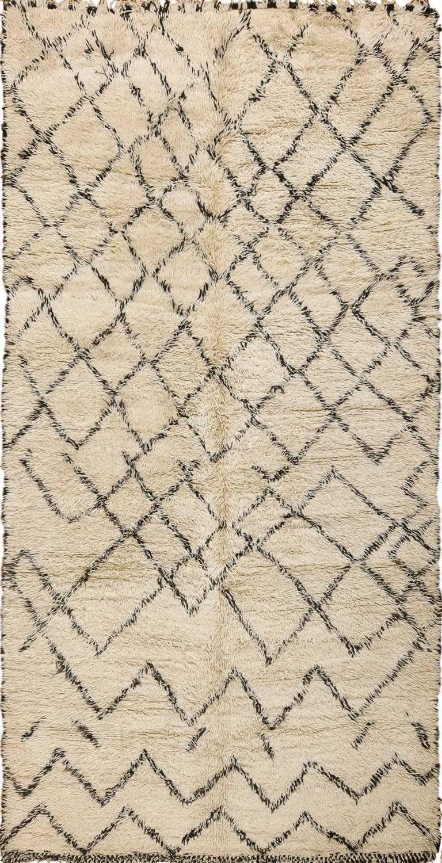 Vintage Moroccan Berber Shaggy Beni Ourain Carpet 49873 - Nazmiyal