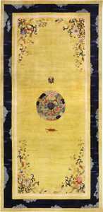 Saffron Yellow Oversize Antique Chinese Rug 49746 Nazmiyal