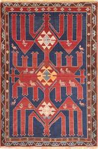 Small Tribal Antique Caucasian Avar Rug 49852 Nazmiyal