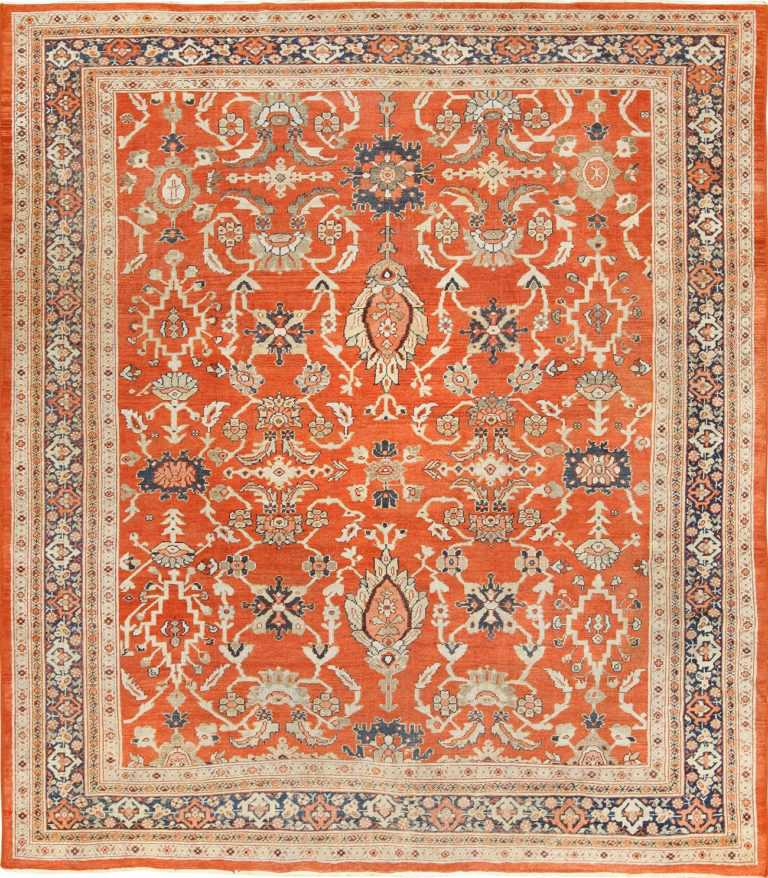 Rusty Red Background Square Antique Persian Sultanabad Rug 49760 by Nazmiyal