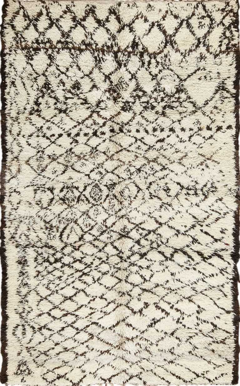 Vintage Shag Beni Ourain Moroccan Berber Rug 49877 Nazmiyal
