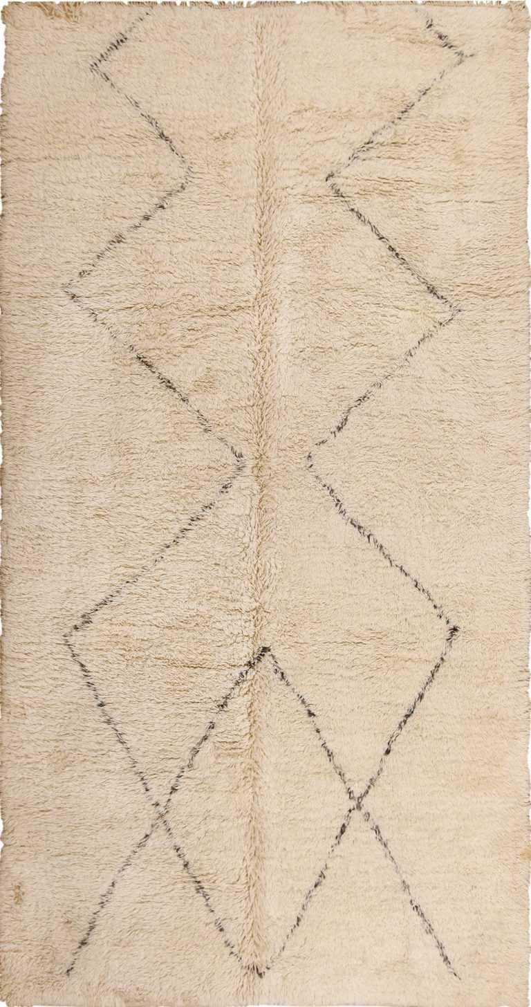 Vintage Ivory and Brown Beni Ourain Moroccan Rug 49890 Nazmiyal