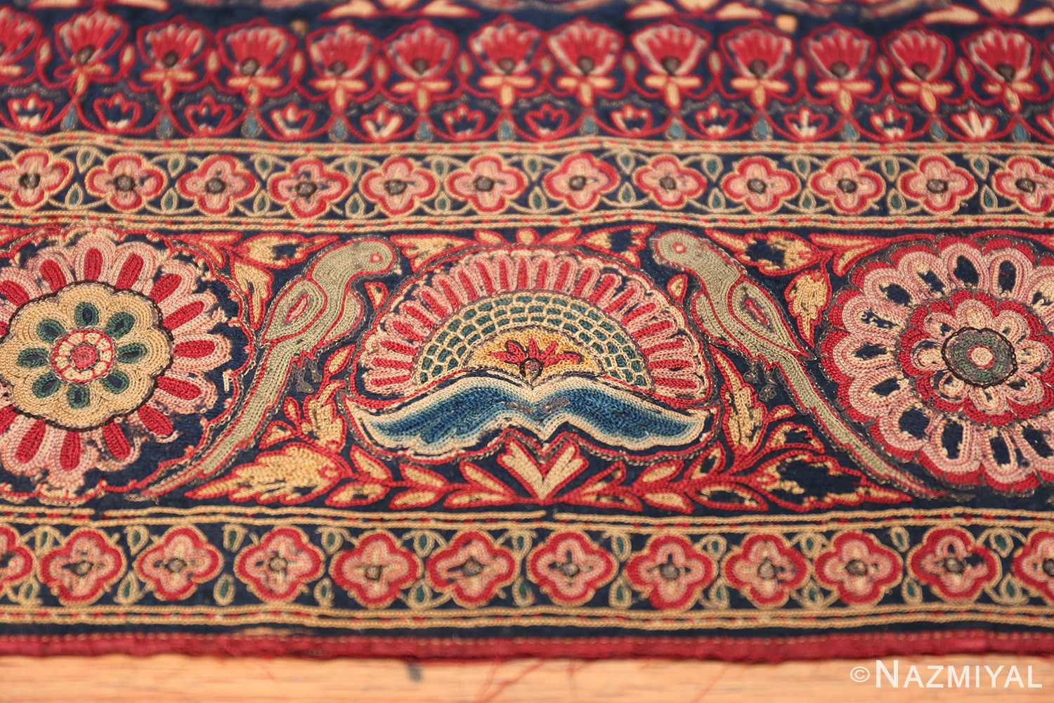 18th Century Indian Embroidery Textile 40364 Blue Flower Nazmiyal