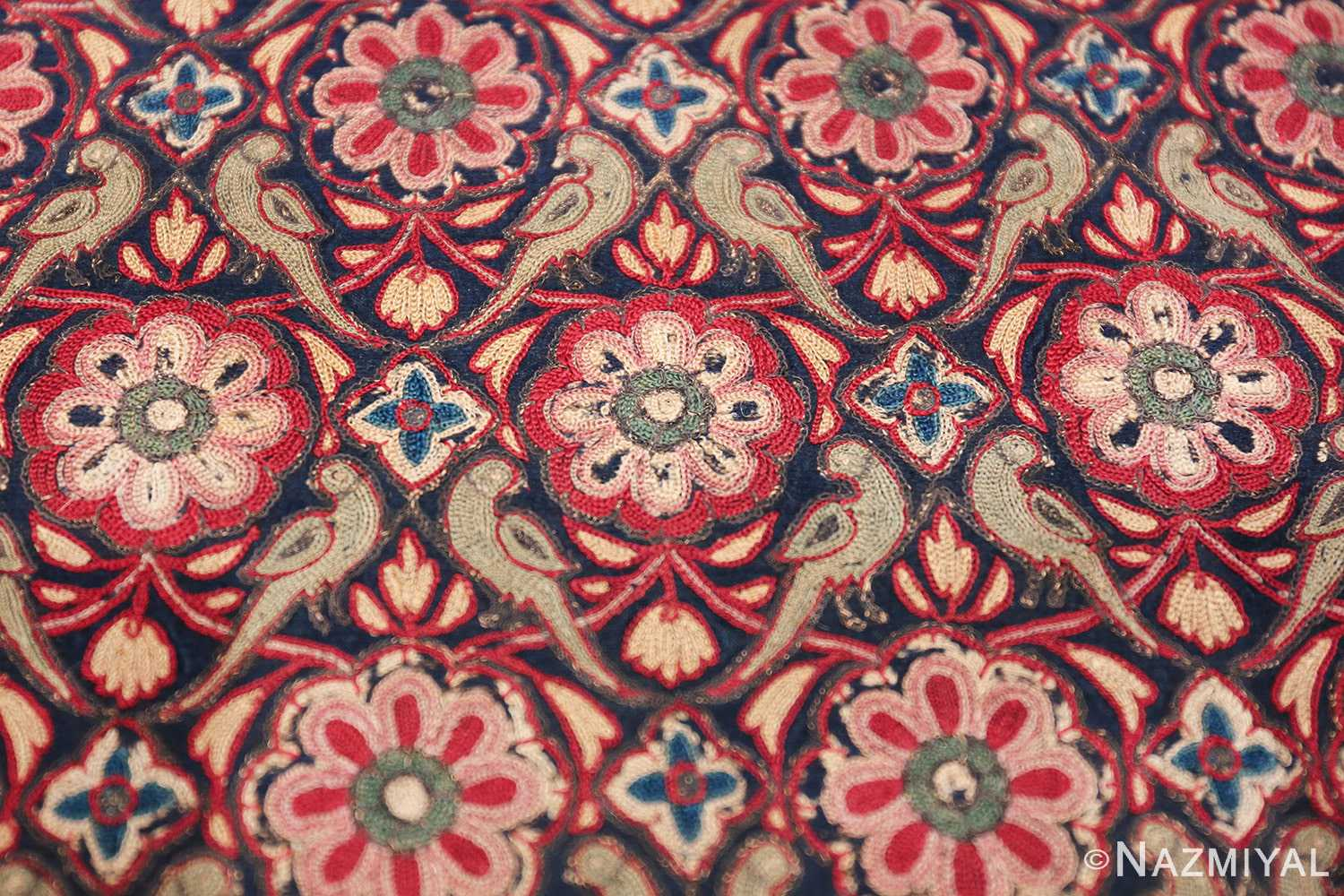 18th Century Indian Embroidery Textile 40364 Closeup Look Nazmiyal