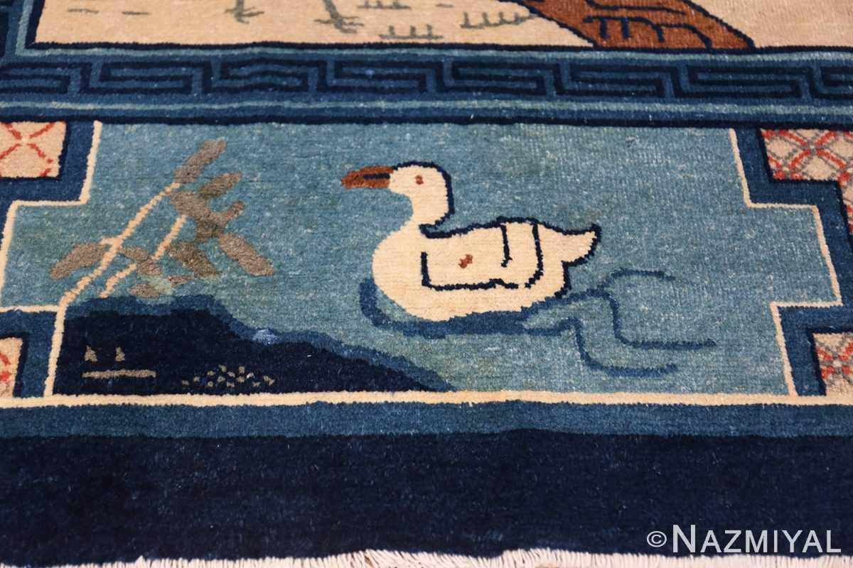 Animal Motif Antique Chinese Rug 49808 Duck Swimming Nazmiyal