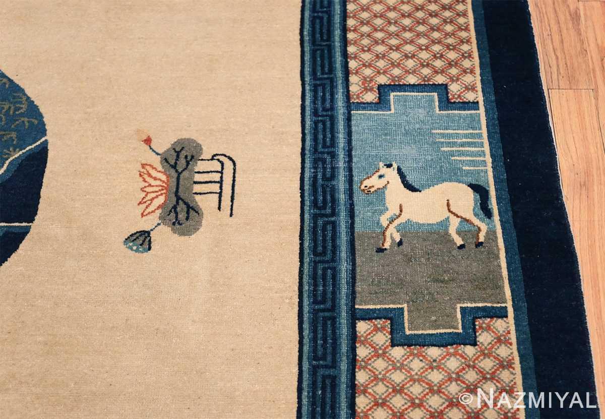 Animal Motif Antique Chinese Rug 49808 Horse on Border Nazmiyal