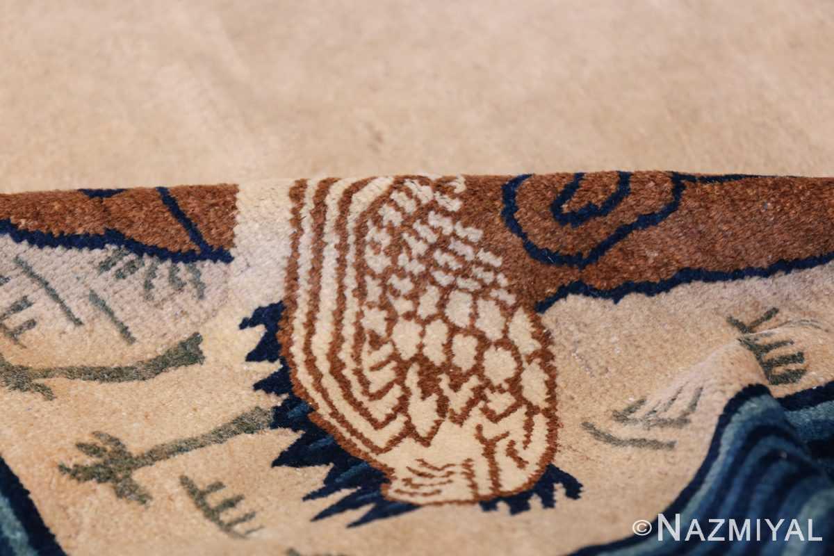Animal Motif Antique Chinese Rug 49808 Ivory Pile Nazmiyal